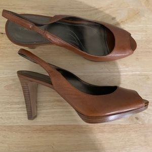 Tahari Tan Slip On Heels W/ Peep Toe Size 8